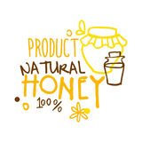 Natural product, honey 100 percent logo symbol. Colorful hand drawn vector illustration. For honey and apiary products Royalty Free Stock Photography