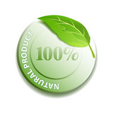 Natural product icon. 100% Natural product icon Stock Images