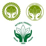 Natural product  icon with hands and leaves Stock Image