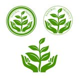 Natural product icon with hands and plant Royalty Free Stock Images