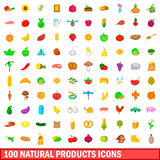 100 natural product icons set, cartoon style Royalty Free Stock Images