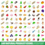100 natural product icons set, isometric 3d style. 100 natural product icons set in isometric 3d style for any design illustration vector illustration