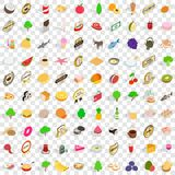 100 natural product icons set, isometric 3d style Royalty Free Stock Photo