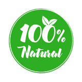 100% natural product label. Nature label vector Illustration for product stock illustration