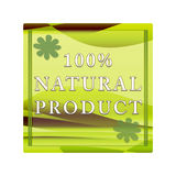 100% natural product label. Rectangle with pattern and flowers on a white background Royalty Free Stock Images