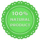 100% natural product label. Vintage tag on a white background stock illustration