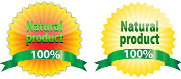 Natural Product labels. Two labels of 100% Natural Product like sunflower and sun royalty free illustration