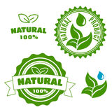 Natural product labels with leaves and drops Stock Photo