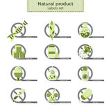 Natural product labels. Natural product vector labels set. Dangerous ingredients or allergens to avoid in food, drinks and cosmetics. Icons crossed by `no`-sign Royalty Free Stock Photo