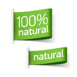 Natural product labels Stock Photo