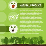 Natural product with leaf sign in frame over green r background Royalty Free Stock Image
