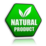 Natural product with leaf sign in green button Stock Photo