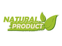 Natural product with leaf sign, green drawn label Royalty Free Stock Photos