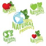 Natural product logo. Natural organic product nature 100 stamp vector green Royalty Free Stock Photo