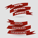 Natural product red banner sticker eps 10  illustration Royalty Free Stock Image