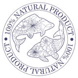 Natural product stamp with fish Stock Photo