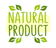 Natural product sticker. Vector illustration for graphic and web design Stock Photography