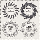 Natural product vintage vector label, frames design elements Royalty Free Stock Photos