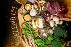 Natural Products And Ingredients Containing Selenium, Dietary Fiber And Minerals, Concept Of Healthy Nutrition Stock Image