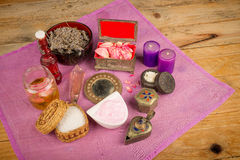 Natural products. Assortment of natural cosmetics with some of their ingredients stock photos