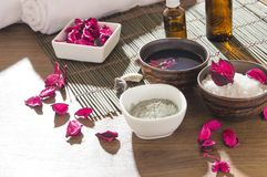 Natural products for beauty care prepared for treatments at the spa salon royalty free stock photography