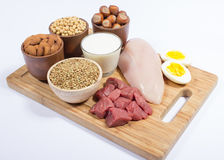 Natural products containing plant and animal proteins. Royalty Free Stock Photography