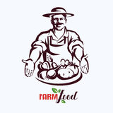 Natural products, farm food stylized vector symbol Stock Images