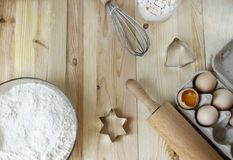 Lour, eggs, all for a tasty cookies. Hobby. Cooking, Christmas. stock photography