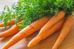Natural products. Natural Fresh carrots with green leaves on the board is Royalty Free Stock Photography