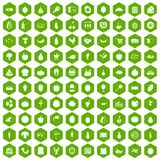 100 natural products icons hexagon green. 100 natural products icons set in green hexagon isolated vector illustration Stock Photography