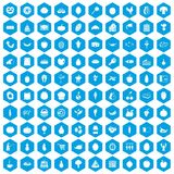 100 natural products icons set blue. 100 natural products icons set in blue hexagon isolated vector illustration Vector Illustration