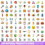 100 natural products icons set, cartoon style. 100 natural products icons set. Cartoon illustration of 100 natural products vector icons isolated on white Royalty Free Stock Photos