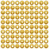 100 natural products icons set gold. 100 natural products icons set in gold circle isolated on white vector illustration Stock Photo