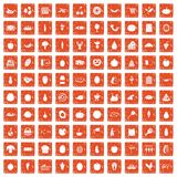 100 natural products icons set grunge orange. 100 natural products icons set in grunge style orange color isolated on white background vector illustration Royalty Free Stock Photo