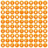 100 natural products icons set orange. 100 natural products icons set in orange circle isolated on white vector illustration Royalty Free Stock Images