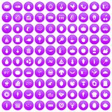100 natural products icons set purple. 100 natural products icons set in purple circle isolated on white vector illustration Stock Photo