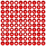 100 natural products icons set red. 100 natural products icons set in red circle isolated on white vector illustration Royalty Free Stock Image