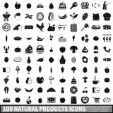 100 natural products icons set, simple style Stock Image