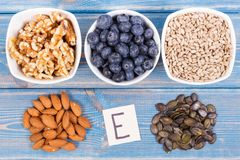 Natural products or ingredients as source vitamin E, minerals and dietary fiber. Natural ingredients or products as source vitamin E, minerals and dietary fiber royalty free stock photography