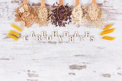 Natural products or ingredients containing carbohydrates and dietary fiber, healthy nutrition Royalty Free Stock Photos