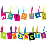 Natural products message with colored pieces of paper Stock Image