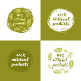 Natural products poster. Vector hand drawn 100 natural products poster concept label badge. Hand lettering, leaves vector illustration