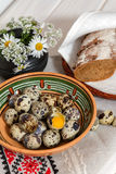 Natural Products. Quail eggs and homemade bread on the table Stock Image