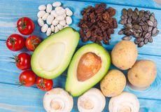 Natural products rich in potassium K . Healthy food concept. Royalty Free Stock Photo