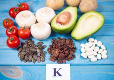 Natural products rich in potassium K . Healthy food concept. Stock Photo