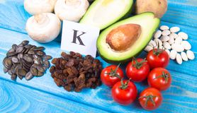 Natural products rich in potassium K . Healthy food concept. Ingredients or products containing potassium K, natural sources of minerals, healthy lifestyle and royalty free stock photography