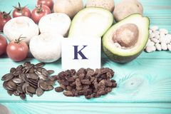 Natural products rich in potassium K . Healthy food concept. Stock Images