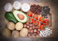 Natural products rich in potassium K . Healthy food concept. Ingredients or products containing potassium K, natural sources of minerals, healthy lifestyle and royalty free stock photo