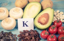 Natural products rich in potassium K . Healthy food concept. Ingredients or products containing potassium K, natural sources of minerals, healthy lifestyle and stock photo