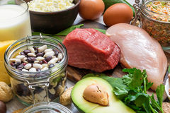 Natural products rich in vitamin B6 and protein Stock Photography